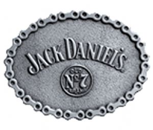 Jack Daniel's Oval Chain Belt Buckle with display stand. Officially licensed. Product code WF1